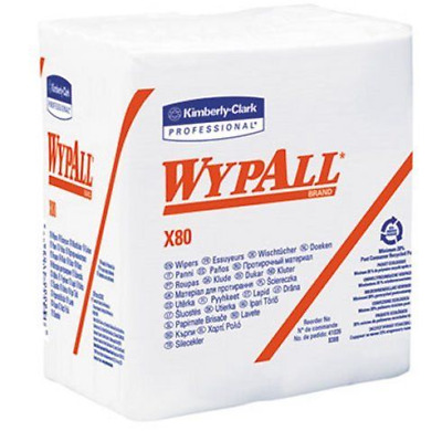Kimberly Clark 41026 Wypall X80 1/4 Fold Wipers - White 50 Sheets (4-Pack)