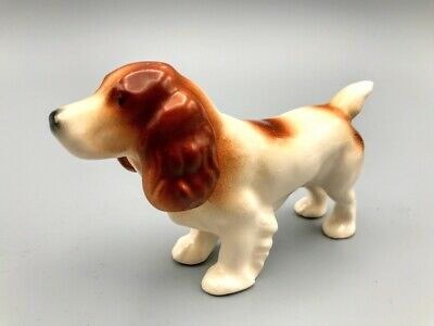 Vintage ceramic porcelain English Spaniel puppy dog figurine