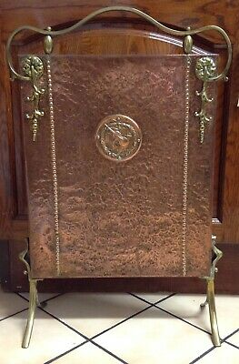 Antique Arts & Crafts Late Victorian Copper & Brass Fire Screen (Music Theme)