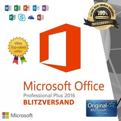 Microsoft Office 2016 PRO Professional Plus ✓ Vollversion ✓Einzellizenz für PC ✓