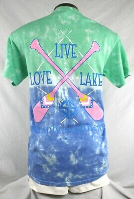 Simply Southern Live Love Lake Women's Tshirt  Size M Color Island Tie Dye