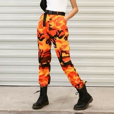 Womens Hiphop Military Overall Pants Casual Camouflage Outdoor American Trousers
