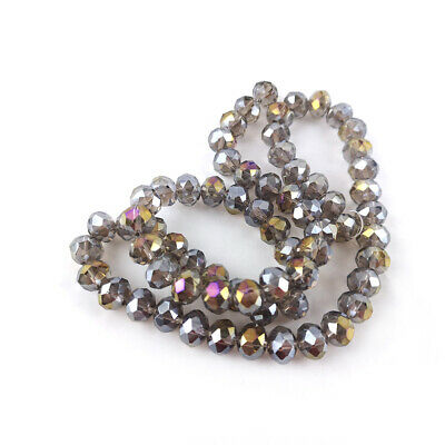 Czech Crystal Glass Faceted Rondelle Beads 6 x 8mm Grey 70+ Pcs AB DIY Jewellery