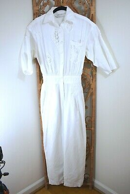 80s VTG ~ Iconic White Cotton /Lace Jumpsuit ~ Check It Out ~ S ~Blogger Hipster
