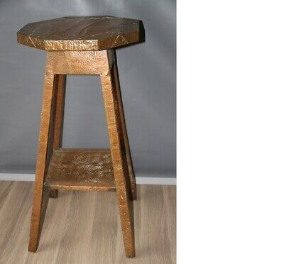 ANTIQUE ARTS AND CRAFT 19THC OAK TABLE COPPER COVERED PLANT STAND.Libertys style