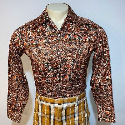 Vtg 60s 70s RICHMAN Brothers Disco Shirt POLYESTER Abstract Hippie Mens SMALL