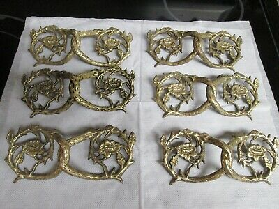 Lot of 6 Unique Vine and Flower Drawer Pulls