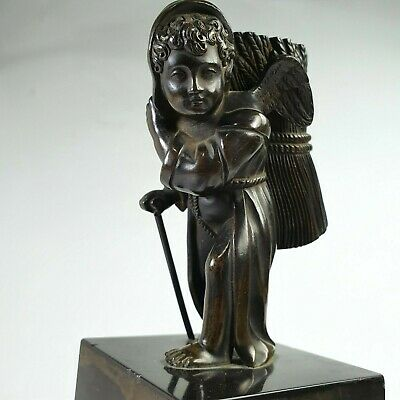 Superb Quality 19th Century French Bronze Cherub Carrying a Hay Bale