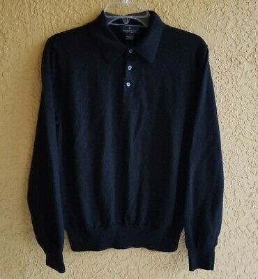 BROOKS BROTHERS Stretch Mens Large Black Merino Wool Polo Style Sweater
