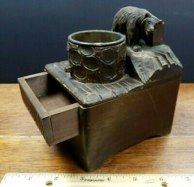 Antique Black forest wood hand carved bear music box/Ashtray tobacco w/striker