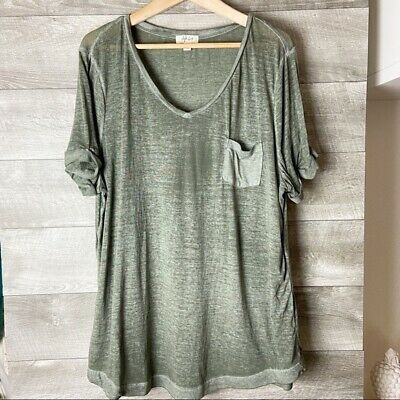 Style & Co women's short sleeve v-neck heather green tee shirt plus size 2X