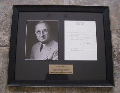 President Harry Truman Framed  & Sgned Letter from Independence Missouri