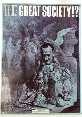 Lyndon Johnson The Great Society Large Anti LBJ Grim Reaper Poster