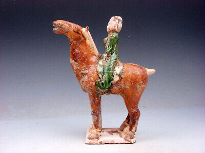 Vintage Chinese SANCAI Pottery Sculpture Ancient Chinese Horse Rider #12141901