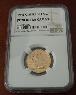 Great Britain 1981 Gold 1 Sovereign Pound NGC PF70UC