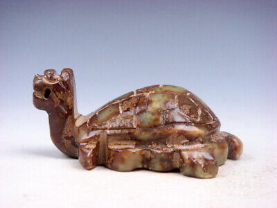 Vintage Nephrite Jade Stone Carved Sculpture Anicent Dragon Turtle #01052002