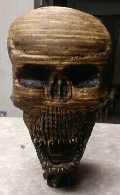 Skull Carved Sculpture Wood Human Skull Realistic 1ft tall