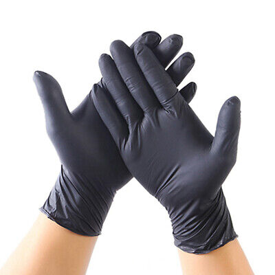 100 Black Vinyl Disposable Gloves Powder Latex Free Tattoo Mechanic Valeting