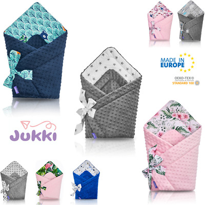 Baby SWADDLE WRAP Sleeping Bag Blanket Newborn Infant COTTON + MINKY *Made in EU