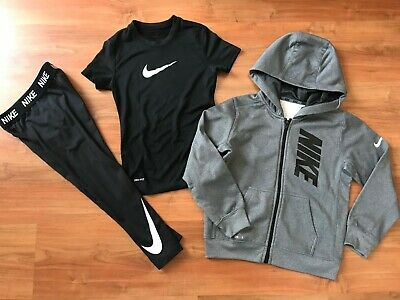Girls BLACK NIKE AIR GYM DANCE LEGGINGS HOODIE & T-SHIRT (age6-7) *L@@K*