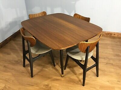 Mid Century 60'S E.gomme Librenza G Plan Dining Table & Set Of Butterfly Chairs