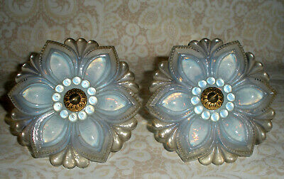 "Pair 4 1/2"" Large Opalescent Sandwich Glass Curtain Tie Backs"