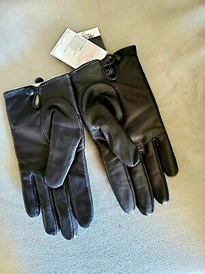 TopShop Womens Black Leather Winter Gloves Size S