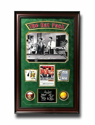 Rat Pack Oceans 11 Billiards Pool Collage W/ Facs Autographs Signed Photo Room