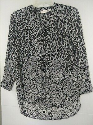 A374478 Belle by Kim Gravel Animal Print Button Front Blouse XS NEW