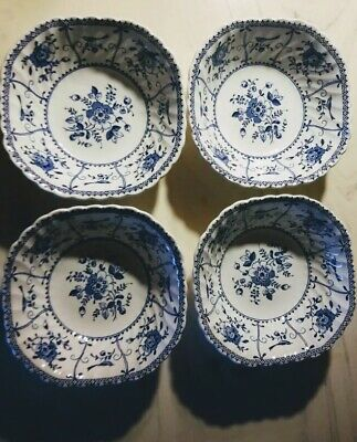 4 Ironstone Johnson Brothers INDIES BLUE Square Salad Soup Bowls Made in England