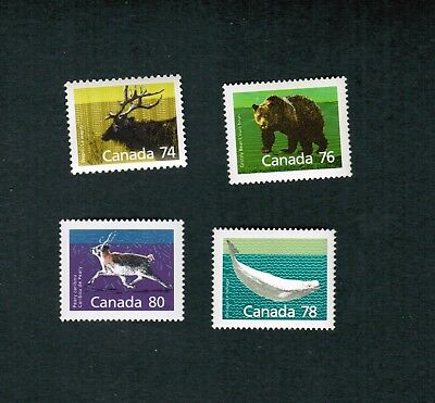 1988 - 1990   4  MINT CANADA STAMPS  # 1177 to 1180 MAMMAL DEFINITIVES  MS20-L3