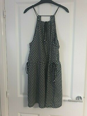 Next Monochrome Black White Polka Dot Spot Strappy Rope V-Neck Summer Dress - 10