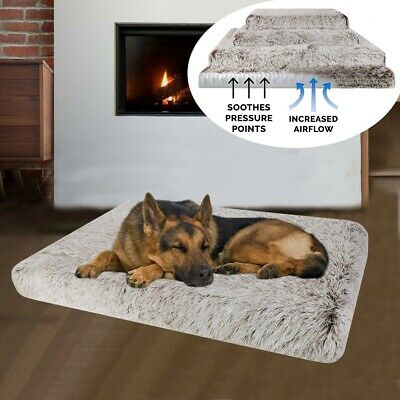 Large Faux Fur Dog Bed Waterproof Pet Crate Mattress Mat Orthopedic Support Foam
