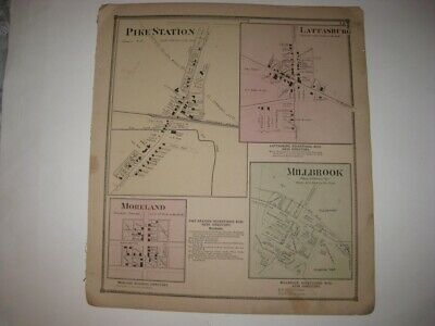Antique 1873 Lattasburg Millbrook Moreland Pike Wayne County Ohio Handcolor Map