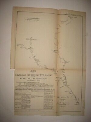 Important Antique 1854 Government Roads Minnesota Territory Map St Paul Hastings