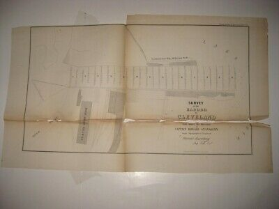 Set Of 2 Antique 1854 Cleveland Harbor Ohio Dated Map Detailed Rare Nr