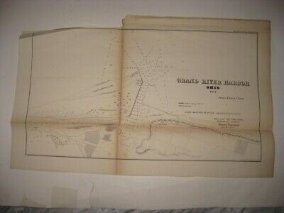 Antique 1854 Grand River Harbor Ohio Dated Map Lighthouse Detailed Superb Rare