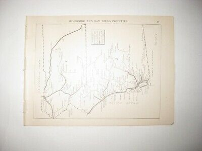 Antique 1894 Riverside San Diego County California Map Railroad Stagecoach Line