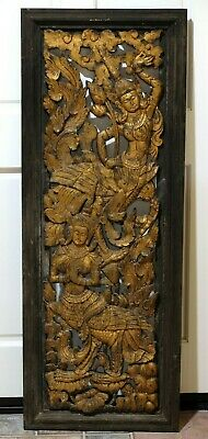 "Antique Thai Dark Golden Hand Carved Wood Panel & Frame Masterful 53"" X 20"""