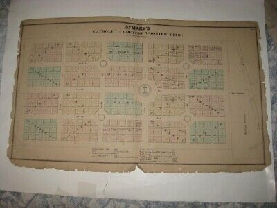 Antique 1873 St Marys Catholic Cemetery Wooster Wayne County Ohio Handcolor Map