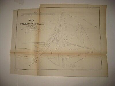 Antique 1854 Buffalo Harbor New York Dated Map Ship Canal Sea Wall Detailed Rare