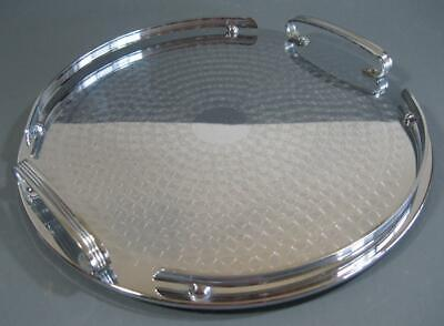 Vintage/retro Ranleigh round drinks/serving cocktail tray chrome/stainless steel