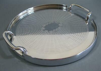 Vintage art deco drinks/serving cocktail tray chrome/stainless round
