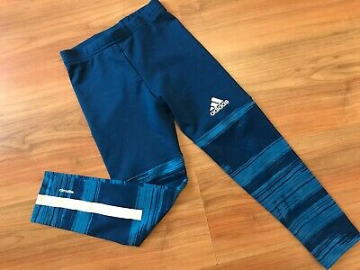GIRLS Blue ADIDAS GYM DANCE LEGGINGS (age5-6) *GREAT COND*