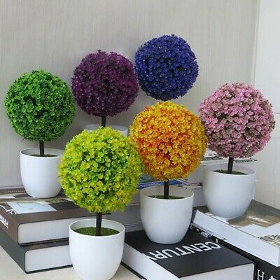 Decorative Artificial Outdoor Ball Plant Tree Pot Colour Small Medium Large KU