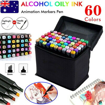 62x Marker Pen Set Dual Heads Graphic Artist Craft Sketch Copic TOUCH Markers