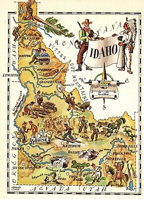1950s Antique IDAHO State Map Vintage Animated Map of Idaho Picture Map 7567