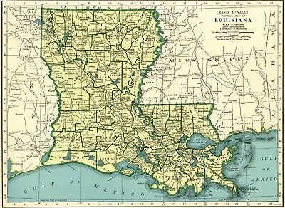 1949 Vintage LOUISIANA State Map Antique Map of Louisiana Gallery Wall Art 7569