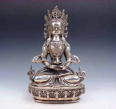 Vintage Tibetan Silver Plated Copper Crafted LARGE Long-Life Longevity Buddha