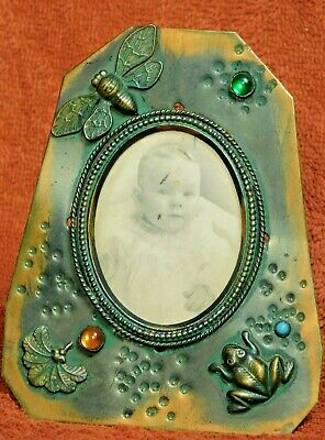 Antique Japanned Hammered Copper Victorian Aesthetic Arts Crafts Picture Frame